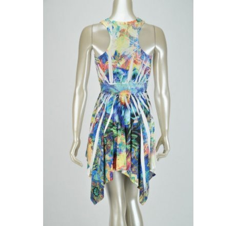 Rear - Multicolor Blue Dress Lace Patch Neckline Hanki Hem Rhinestones