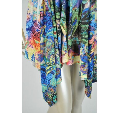 Detail - Multicolor Blue Dress Lace Patch Neckline Hanki Hem Rhinestones