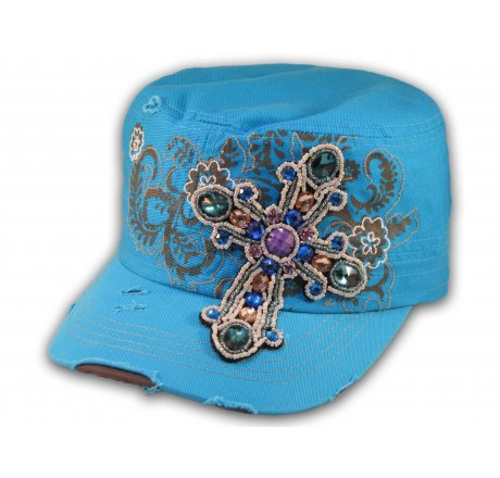 Jeweled Cross on Blue Cadet Castro Hat Military Army Cap