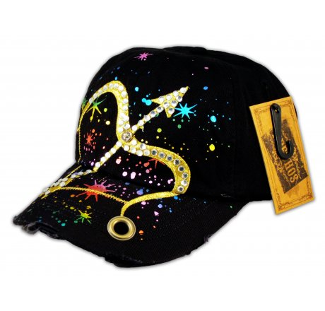 Bow and Arrow on Black Ball Cap with Jewels