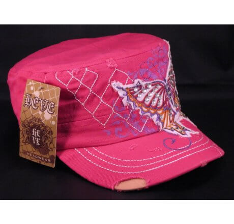 Butterfly on Pink Army Cadet Hat Vintage Distressed Castro Cap