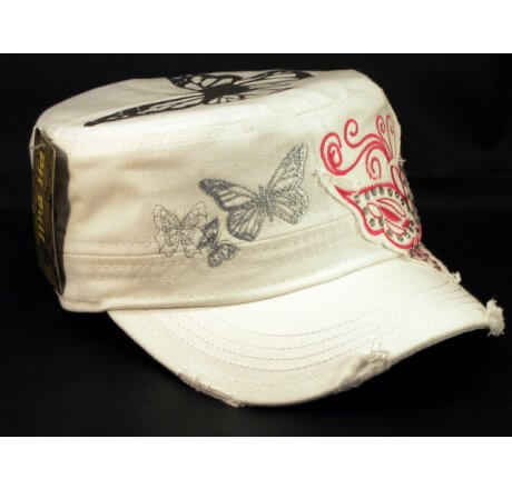 Pink Butterfly on White Army Cadet Hat Vintage Castro Cap