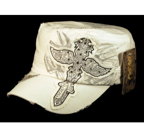 Dagger White Cadet Castro Hat Vintage Military Army Cap Jewels