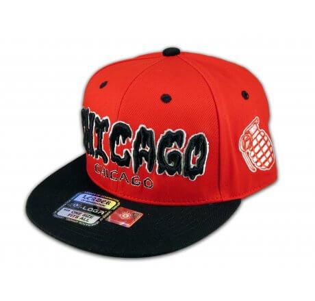 Chicago Snapback Red Black Baseball Adjustable Hat Cap Flat Bill