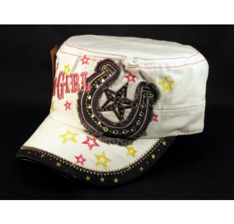 Cowgirl and Horseshoe on White Cadet Vintage Army Cap Jewels