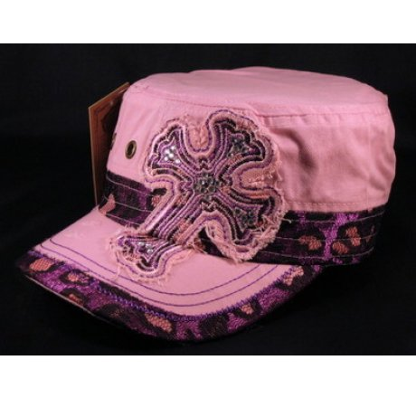 Cross on Pink Cadet Hat Vintage Army Cap Jewels Grommets - Printed  T-Shirts f3f3f21210a