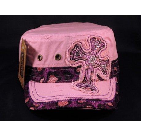 Cross on Pink Cadet Hat Vintage Army Cap Jewels Grommets