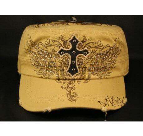 Cross on Khaki Cadet Hat Vintage Army Hat Jewels Stitching Studs