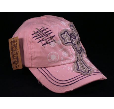 Cross with Heart on Pink Ball Cap Vintage Visor Jewels Stitching