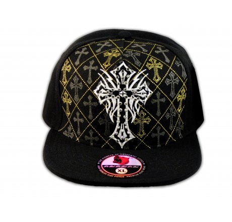 Cross on Black Flat Brim Hip Hop Hat Jewels Gold Stitching Fitted Hat