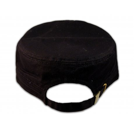 Brown Cross on Black Cadet Cap Army Hat Vintage Distressed Visor