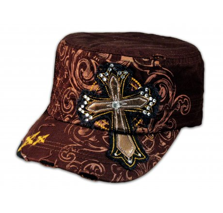 Brown Cross on Brown Cadet Cap Army Hat Vintage Distressed Visor