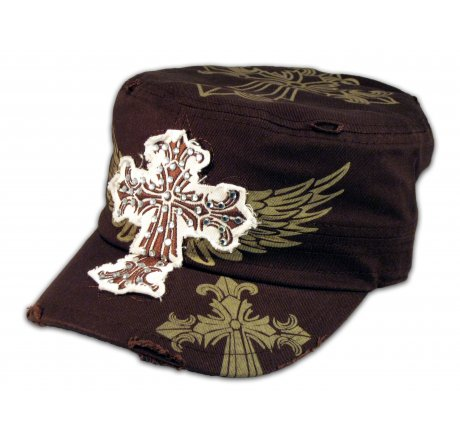 Cross and Wings on Brown Army Cadet Hat Military Castro Cap