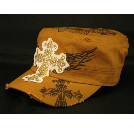 Cross on Cinnamon Brown Army Cadet Hat Vintage Castro Cap