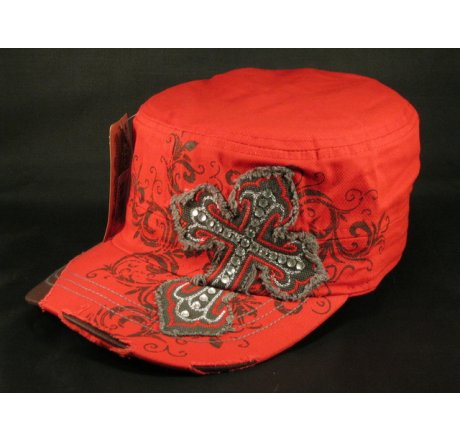 Cross on Red Cadet Hat Vintage Army Cap Distressed Visor Jewels