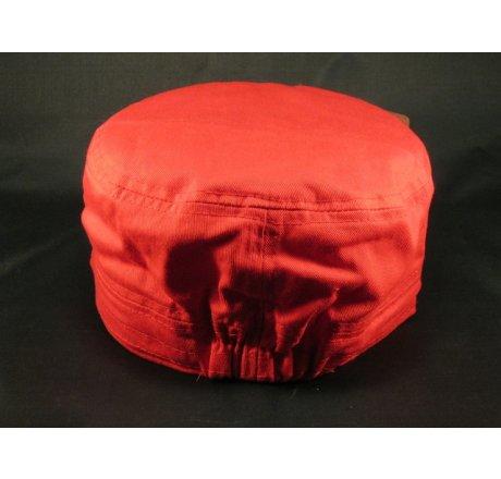 Cross on Red Cadet Hat Vintage Army Cap Distressed Visor Jewels