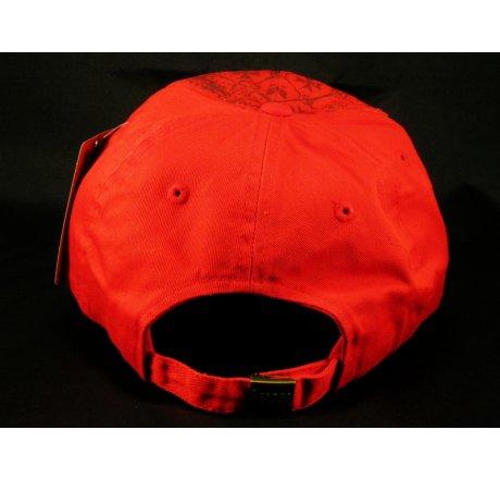 Gold Cross Red Ball Cap Vintage Hat Distressed Visor Jewels
