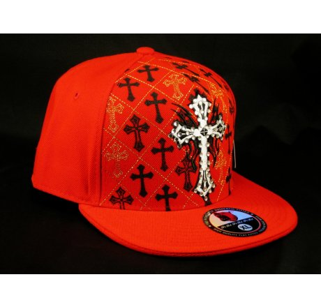 Cross on Red Flat Brim Hip Hop Hat Jewels Gold Stitching Bling
