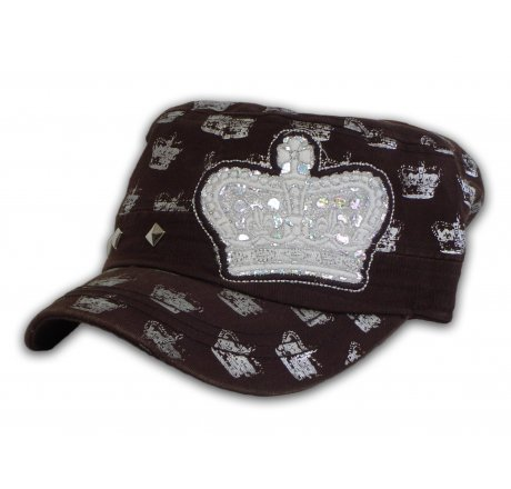 Crowns on Brown Army Cadet Hat Castro Military Cap