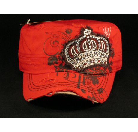 Crown on Red Army Cadet Cap Distressed Military Hat