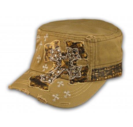 Jeweled Cross on Khaki Cadet Castro Hat Military Army Cap