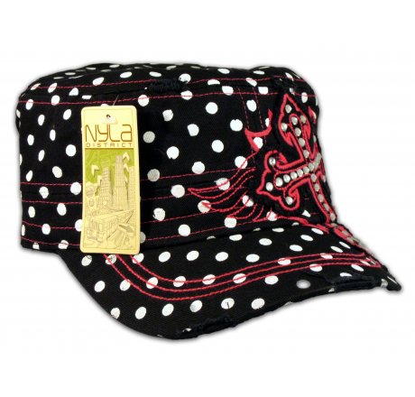Cross on Black Polka Dot Cadet Cap Military Hat Distressed Visor