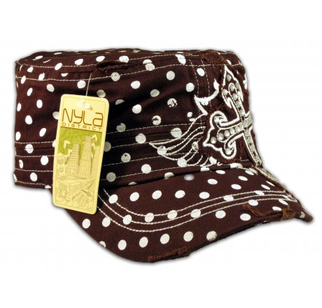 Cross on Brown Polka Dot Cadet Cap Military Hat Distressed Visor