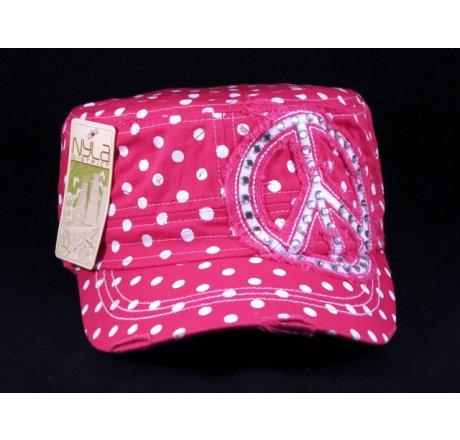 Peace Sign on Pink Polka Dot Cadet Cap Distressed Visor