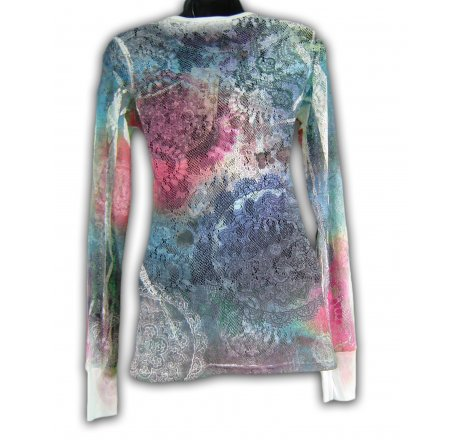 Rear - Mesh Long Sleeve Tee All Over Tye Dye Shirt