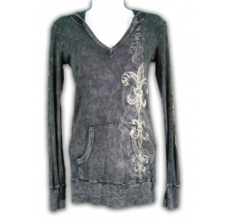 Front - Thermal Hoodie Long Sleeve Shirt All Over Print and Jewels