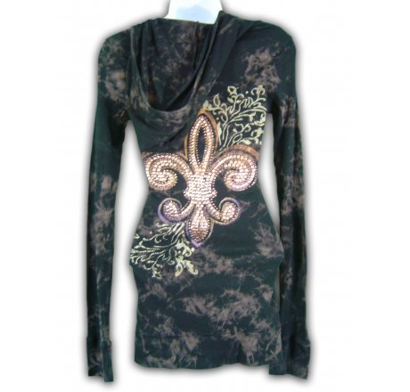 Rear - Thermal Hoodie Long Sleeve All Over Print and Jewel