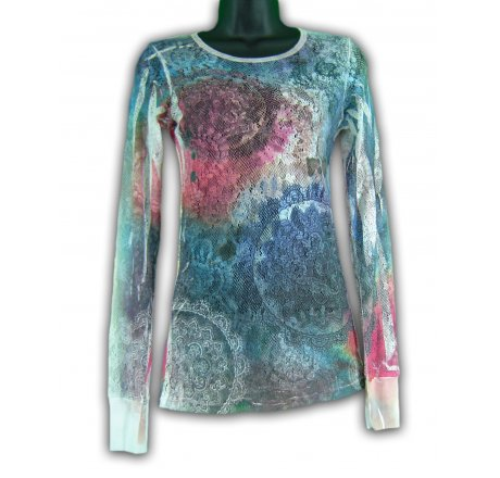 Front - Mesh Long Sleeve Tee All Over Tye Dye Shirt