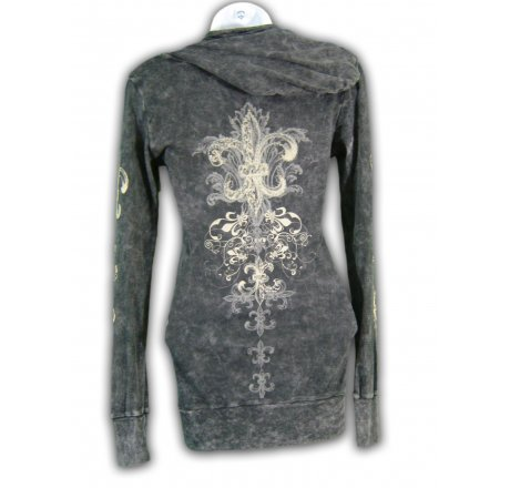 Rear - Thermal Hoodie Long Sleeve Shirt All Over Print and Jewels