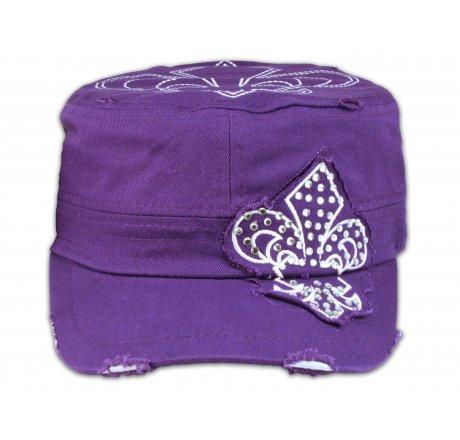 Fleur-de-lis on Purple Army Cadet Hat Distressed Castro Military Cap