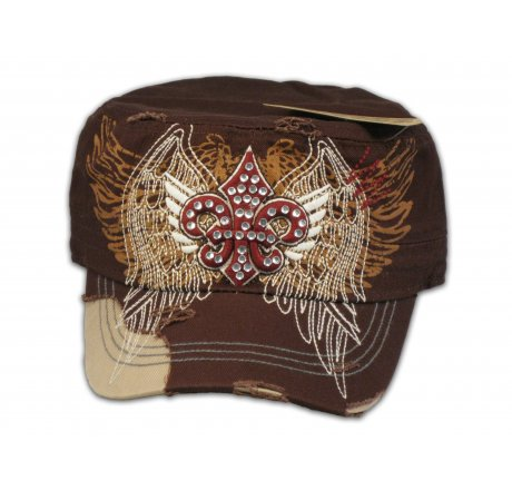 Fleur-de-lis on Cadet Cap Brown Stitching Jewels Military