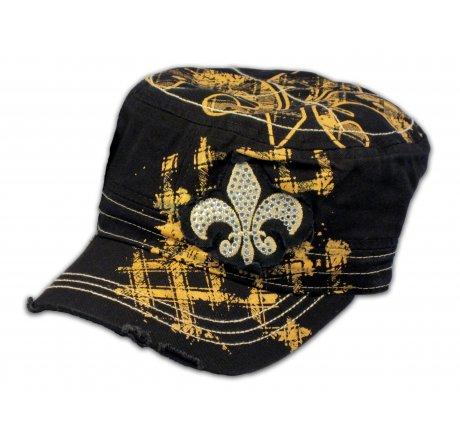 Fleur-de-lis on Black and Gold Cadet Cap Distressed Visor