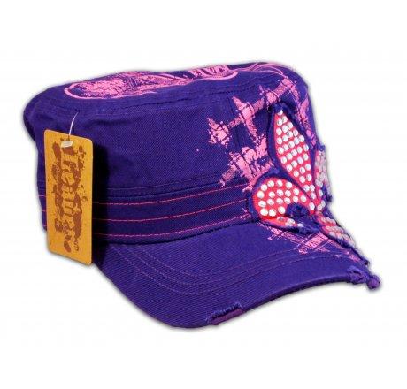 Fleur-de-lis on Purple Cadet Cap Military Hat Distressed Visor
