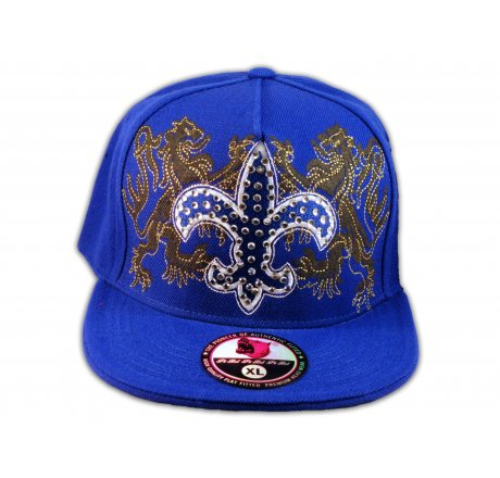 Fleur-de-lis on Blue Flat Brim Hip Hop Hat Jewels from Pit Bull