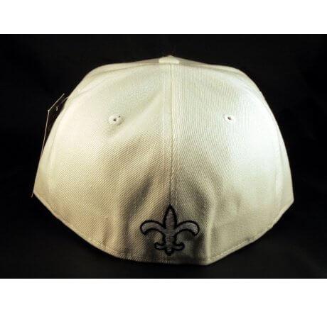 Fleur-de-lis Fitted Hat on White Flat Brim Hip Hop Hat Jewels