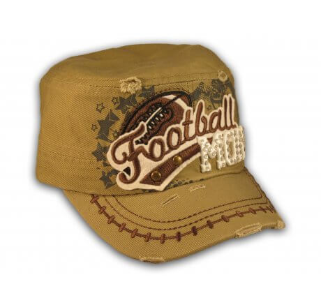 Football Mom Khaki Army Cadet Military Castro Style Army Hat