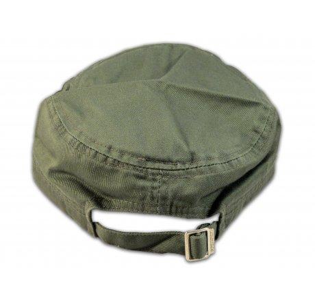 Olive Green Cadet Fleur-de-lis Castro Cap Army Hat Vintage Visor