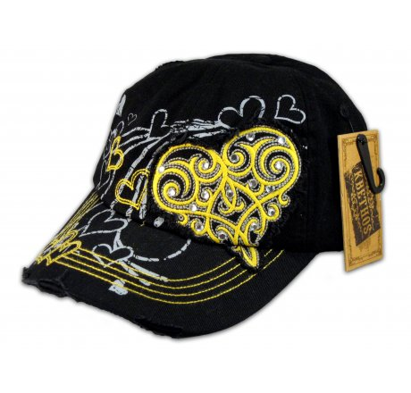 Yellow Heart Black KB Ethos Ball Cap Vintage Hat Distressed