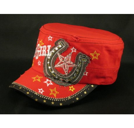 Cowgirl and Horseshoe on Red Cadet Hat Vintage Army Cap Jewels