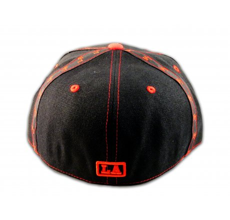 LA Los Angeles Fitted Hat on Black Red Flat Brim Hip Hop Hat
