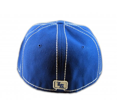 Los Angeles Fitted Hat on Blue White Flat Brim Ball Cap Hip Hop Hat