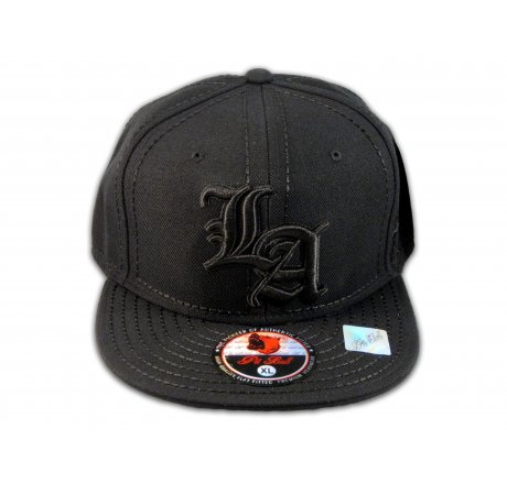 Los Angeles LA on Fitted Black Flat Brim Ball Cap Hip Hop Style Hat