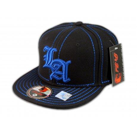 Los Angeles LA on Black Blue Flat Brim Ball Cap Hip Hop Style Hat