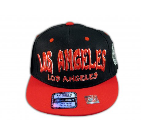 Los Angeles Snapback Black Red Baseball Hat Cap with Grenade Flat Bill