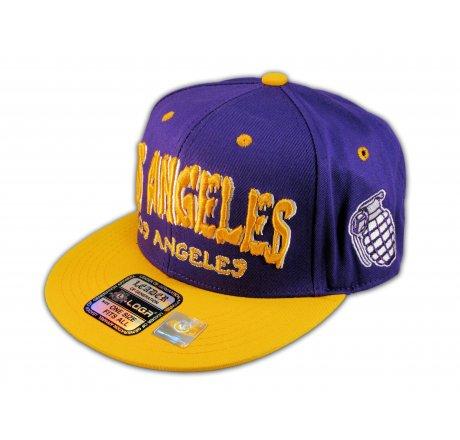 Los Angeles Snapback Purple Gold Baseball Hat Cap Grenade Flat Bill