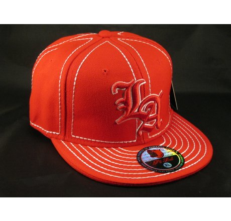 Los Angeles LA on Red White Flat Brim Ball Cap Hip Hop Style Hat